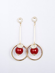 Rich Long Women's Cut Out Red Ball Shape Earring