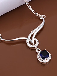 R&D Mounted Stone Silver-Plated Necklace