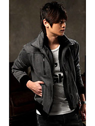 DJJM Double double zipper design fleece jacket fleece(Dark Gray)