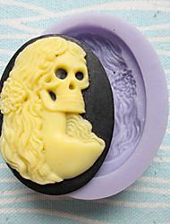 um furo crânio mulher molde de silicone para bolos