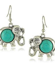 De boucles d'oreilles de style de cru vert Elephant Turquoise femmes