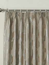 (Two Panels) Neoclassical Bright Print Leaves Energy Saving Curtain