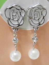 MISS U Women's White Rose Pearl Earrings