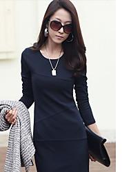 Jaune Haute Qualité YGR femmes robe à manches longues ajusté