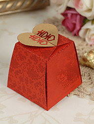 Floral Red Asian Style Wedding Favor Boxes - Set von 12