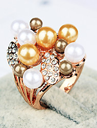ME Hollow Inlaid Stone Rhine Pearl Ring(NJ00390)