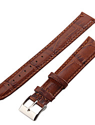 Unisex 18mm Crocodile Grain Leather Watch Band (Brown)