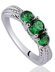 Tri-Pierre Deisign femmes 925 anneau argenté avec Zircon