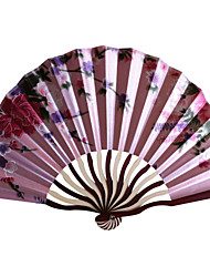 Floral Satin Hand Fan - Set of 4 (Random Color)