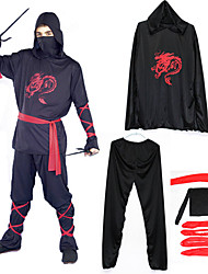 Ninja Warrior Black Polyester Men's Carnival Costume with Red Bandage (for Height 160-179cm)