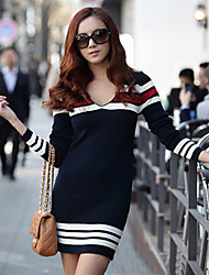 Women's V Neck Stripes Dress
