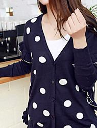 Folli Korean Polka Dots Ruffle Knit Shirt
