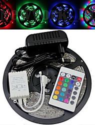 Waterproof 5M 150x5050 SMD LED RGB Faixa Luz e 44Key controle remoto e AC110-240V para DC12V3A Transformer