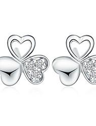 Timeek Women's Silver Three Leaf Clover Shape Earring