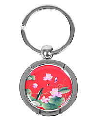 Personalized Round Keychain - Lotus