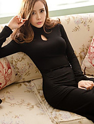 Women's Cut Out High Neck Long Sleeve Dress