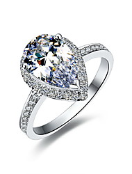3 Carat Pear 925 Silver White Gold Plated SONA Crystal Diamond Ring For Women Wedding