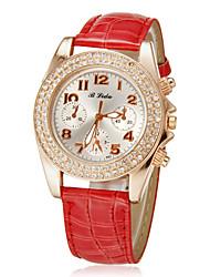 Diamante ronde des femmes Dial Pu Band bracelet à quartz analogique (couleurs assorties)
