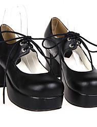 Zapatos Lolita Clásica y Tradicional Hecho a Mano Tacón alto Zapatos Un Color 7.5 CM Negro Para Mujer Cuero Sintético/Cuero de Poliuretano