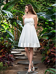 Lanting Bride A-line Petite / Plus Sizes Wedding Dress-Knee-length Strapless Chiffon / Stretch Satin