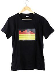 Новый черный Музыка звуковой активации рубашка светодиодной T Красочный эквалайзер проблесковый маячок