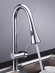 Chrome Finish Single Handle Pull Out Kitchen Faucet