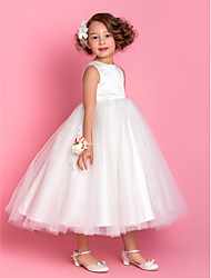 Lanting Bride A-line / Princess Tea-length Flower Girl Dress - Satin / Tulle Sleeveless Jewel with Appliques / Beading