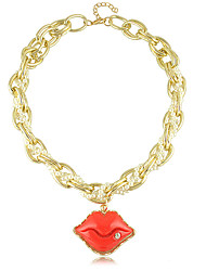 European Style Red Mouth Acrylic Bead Chain Necklace