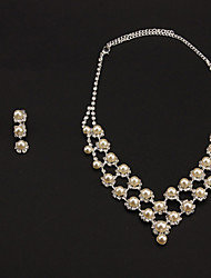 Fashion Alloy Silver With White Pearl Bridal Jewelry Sets(Necklaces&Earrings)