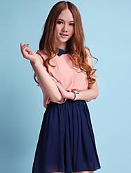 Miss well Sweet Fake 2 Pcs Lapel Sleeveless Splicing Dress(Pink)