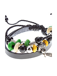 Unisex Wings Pendant Fabric Leather Bracelet