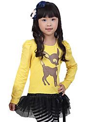 Patrón de piel animal de la muchacha del soplo de hombro vestido de manga