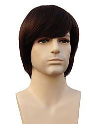 100% Human Hair Capless Short Straight Dark Brown Man'S Wigs