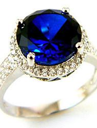 Женская 5ct Лаборатория создания Сапфир кольцо стерлингового серебра 925