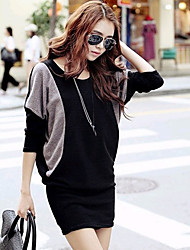 Women's Color Block Black Dress , Casual Round Neck Short Sleeve