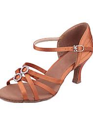 Customizable Women's Dance Shoes Latin/Ballroom Satin Customized Heel Black/Brown