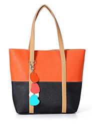 N-PAI Frauen orange Kontrast Farbe Schultertasche (38 * 31 * 10)