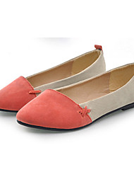 Shanhu Spitzschuh Kontrast Farbe Flach Heel Pumps (Rot)