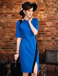 TS асимметричные Воротник Контрастность Цвет платья