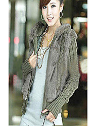 Long Sleeve Hooded Rabbit Fur Party/Casual Jacket