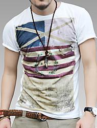 Retro Print Homme mince mince T-shirt