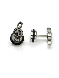 Fashion (Note Shape) Multicolor Titanium Steel Stud Earrings(Silver,Black) (1 Pc) Christmas Gifts
