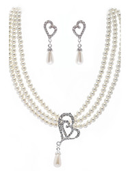 Fashion White Imitation Pearl Pendant (Necklaces&Earrings) Pearl Jewelry Sets