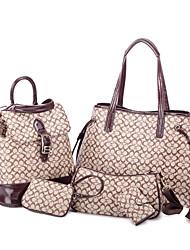 Feimei European and American Style Bag Set(Single-Shoulder Bag,Messenger Bag, Wallet,Handbag,Key Holder)