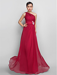 TS Couture® Prom / Formal Evening / Military Ball Dress - Open Back Plus Size / Petite A-line One Shoulder Floor-length Chiffon withAppliques /