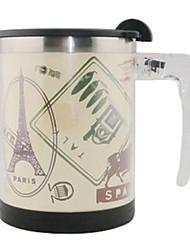 Automatic Stirring Elegant Wind world Coffee Mug,Metallic 14oz