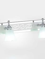 Applique murale à LED, 2 Lumière, bref Métal Verre Chrome