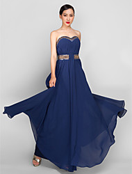 Formal Evening / Military Ball Dress - Dark Navy Plus Sizes / Petite A-line Sweetheart Ankle-length Georgette
