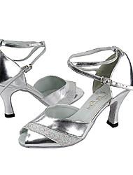 Женские PU шампанское Блеск Верхние Индивидуальные каблука Бальные танцевальная обувь танцевать Сандалии