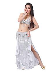Desempenho Sexy borlas Rhinestone poliéster Dança do Ventre Outfits (2 peças, 5 cores disponíveis)